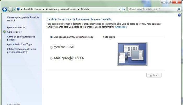 tamaño letra windows